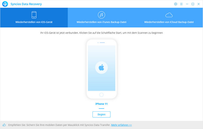 iPhone mit iPhone Data Recovery scannen